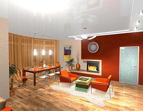 Гостиная, кухня, холл